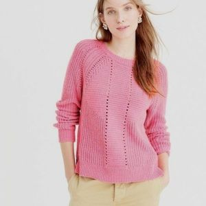 J. Crew Wool Blend Pointelle Cable Sweater In Pink